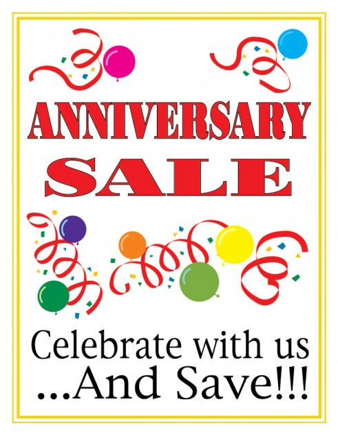 Anniversary sale sign cards price